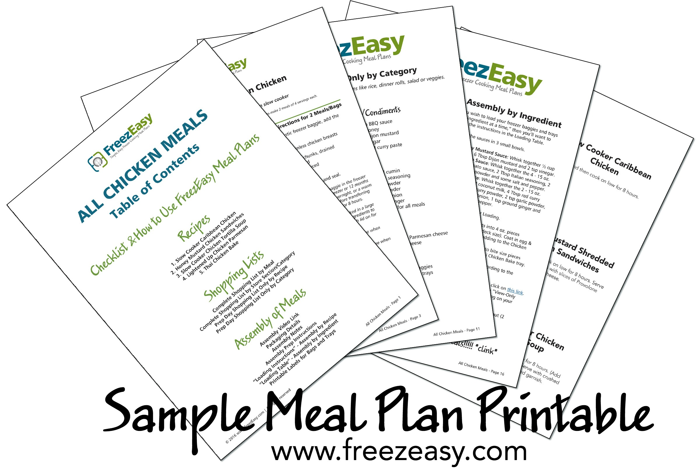 FreezEasy Sample Printable Meal Plan